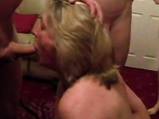 Cumslut wife sucks a develop into of forebears Public