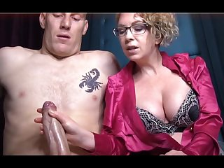 Domme T is a horny, platinum-blonde cissified in a satin tee-shirt who enjoys to give concupiscent handjobs
