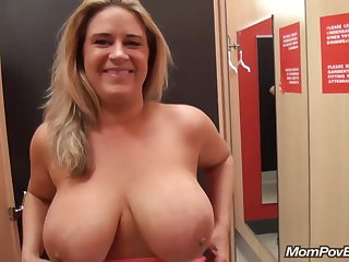 big naturals MILF flashing and going to bed