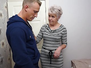 Bluff haired granny Lady Sextacy fingered and fucked hardcore