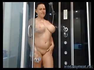 My glum wife takes a shower in the first place cam and looks amazing