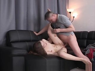 Cute Brunette Receives The Agent's Boner