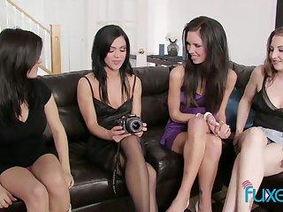 Unforgettable lesbian orgy featuring four oversexed beautiful girlfriends