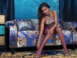 Mocha outer main Alishaa Mae shows her overgrown dark nipples and yummy twat
