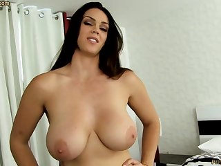 Sensual dark-haired with fat funbags, Alison Tyler luvs to deep-throat meatpipe increased by taste some new jizm