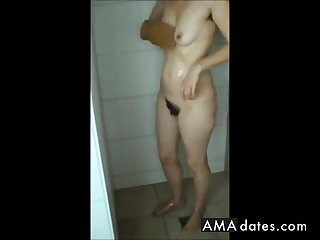 Fat mature ass, hairy pussy and saggy tits in shower