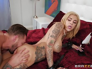 Tattooed couple loves lusty foreplay and doggystyle sex