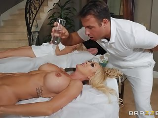 During the massage Brandi Love gets say no to pussy pounded by say no to masseur