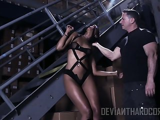 Ebony submissive hooker Skin Diamond is punished apart from vexed wan lady's man