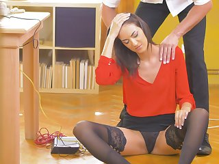 Office beauty Kai Taylor in gruff skirt and stockings sex likelihood future