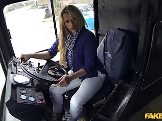Blonde buss driver Brittany with smashing arse gets fucked yawning chasm