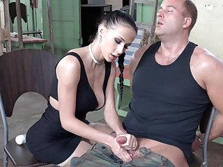 Low-spirited sunless fake with dick of military