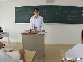 Horny Asian teacher stops the coaching simply to bonk her two students