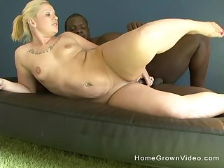 Big ass blonde grown-up fucked upon her asshole by a black monster