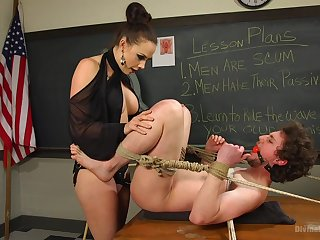 Domina Chanel Preston tortures her slave with spanking added to pegging