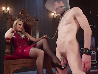 Facesitting tow-haired Aiden Starr tortures their way male slave with pegging