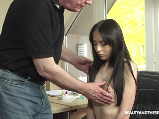 Young patient with puffy nipples Roxy Sky is enthusiasm for sex with old falsify