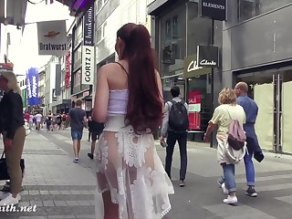 Jeny Smith walks in public in transparent dress without panties