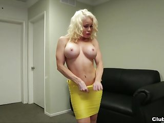 Sexy blonde become man Nikki Delano with amazing body gives a handjob