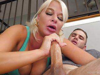 Blonde mom enjoys a short round of porn with their way sham son