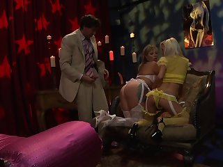 Adrianna Nicole and Brandi Edwards fucked hard by one dude in threesome